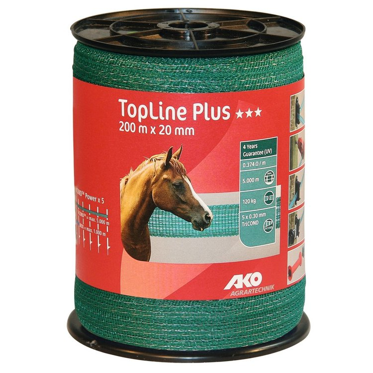 Weidezaunband TopLine Plus TriCOND grün 20 mm, 0,374 Ohm/m, 200 m