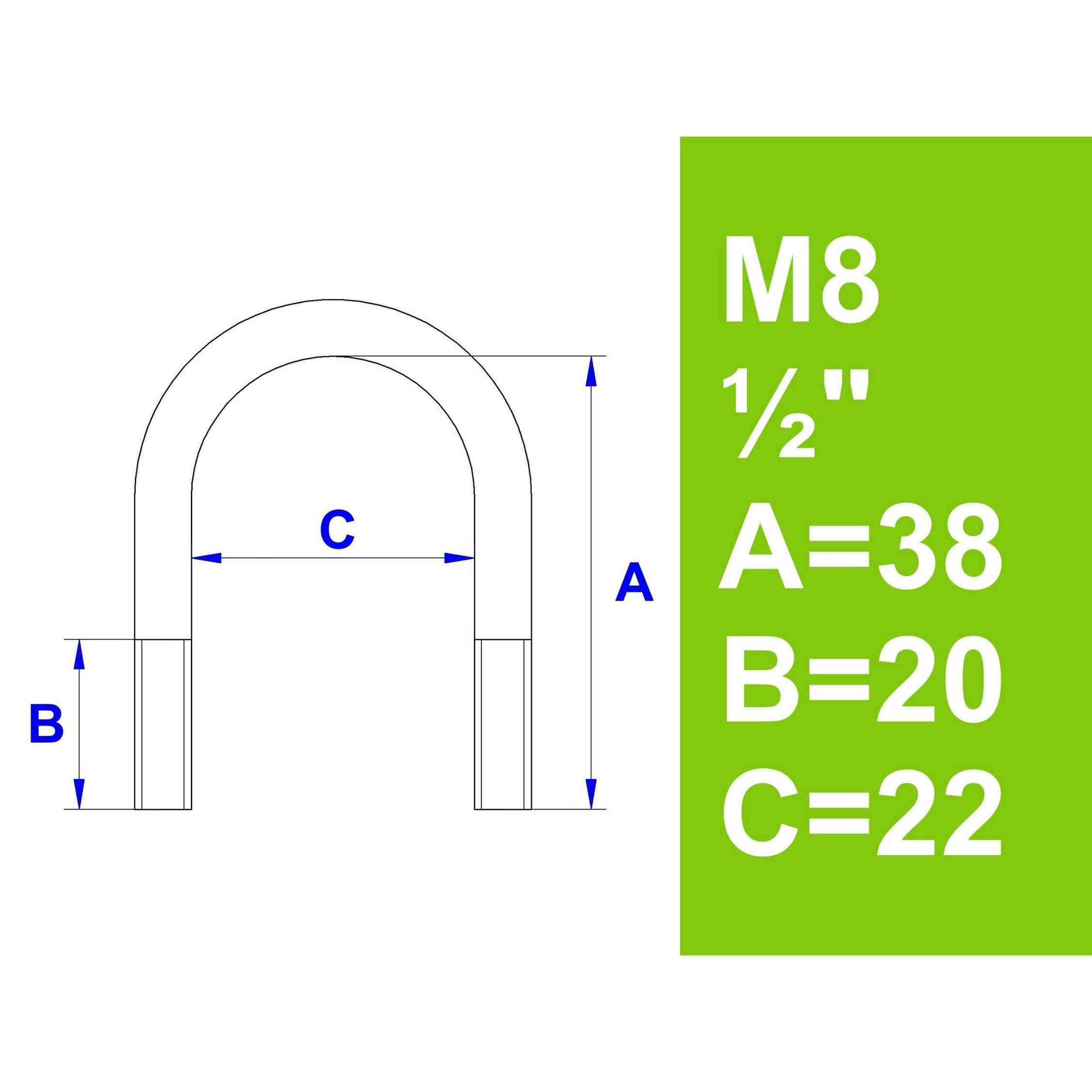 3//4 Ohne Zubeh/ör AVERDE B/ügelschraube 26,9 mm - M8